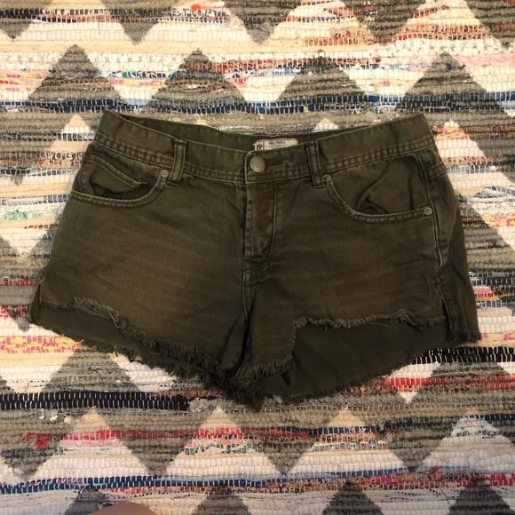Free People Pants - Free People Olive Denim Cutoff Shorts